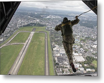 A Jump From C-130 Hercules Metal Print by Celestial Images