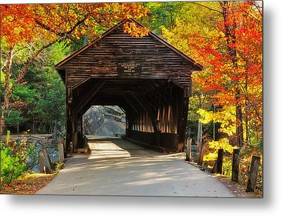 A Kancamagus Gem - Albany Covered Bridge Nh Metal Print by Thomas Schoeller