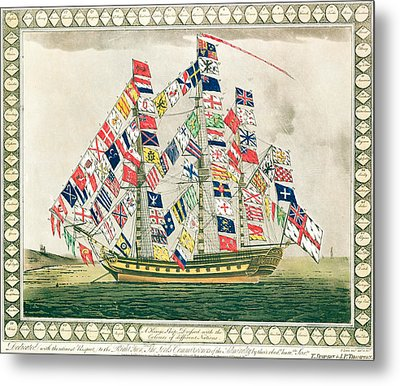 A King S Ship Dressed With The Colours Of Different Nations 6th October 1794 Metal Print by English School
