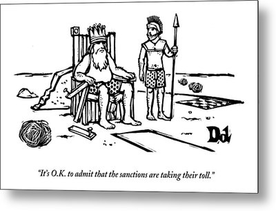 A King Sits Outside In His Boxers On A Wooden Metal Print by Drew Dernavich