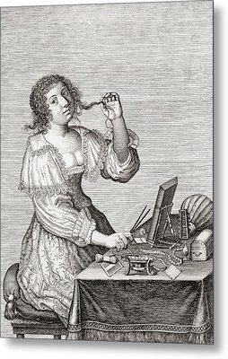 A Lady At Her Toilette, After A 17th Century Engraving By Le Blond.  From Illustrierte Metal Print by Bridgeman Images