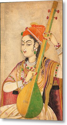 A Lady Playing The Tanpura Metal Print by Celestial Images