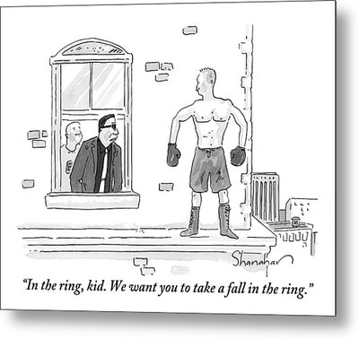 A Mafioso Is Seen Leaning Out Of A Window Talking Metal Print by Danny Shanahan