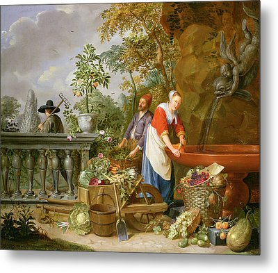 A Maid Washing Carrots At A Fountain Metal Print by Nicolaas or Nicolaes Muys