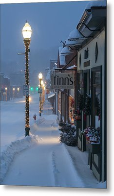 A Maine Street Christmas Metal Print by Patrick Downey
