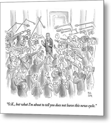 A Man Answers Questions At A Press Conference Metal Print by Paul Noth