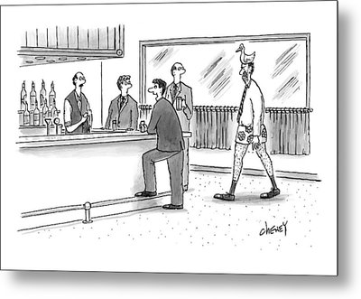 A Man Walks Into A Bar Wearing Boxers With A Duck Metal Print by Tom Cheney