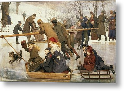 A Merry Go Round On The Ice, 1888 Metal Print by Robert Barnes