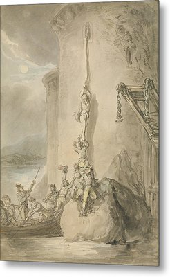 A Military Escapade, C.1794 Pen & Ink With Wc And Wash Over Graphite On Paper Metal Print by Thomas Rowlandson