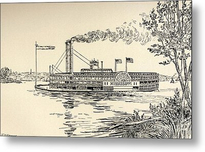 A Mississippi Steamer Off St Louis From American Notes By Charles Dickens  Metal Print by EH Fitchew