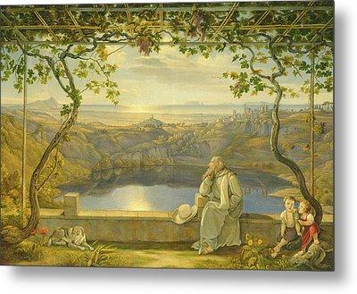 A Monk On A Terrace At The Nemi Lake Metal Print by Joachim Faber