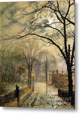 A Moonlit Stroll Bonchurch Isle Of Wight Metal Print by John Atkinson Grimshaw