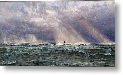 A North-west Gale Off The Longships Lighthouse Metal Print by John Brett