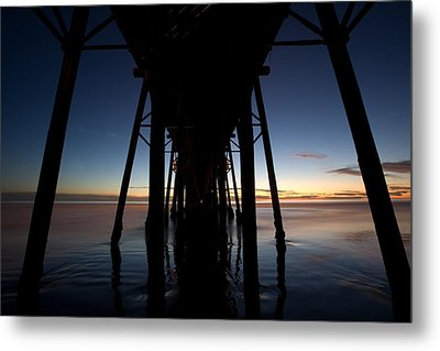 A Ocean Pier At Sunset In California Metal Print by Peter Tellone
