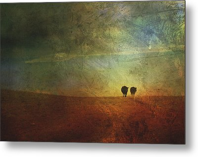 A Painterly Image Of Two Cows Walking Metal Print by Roberta Murray