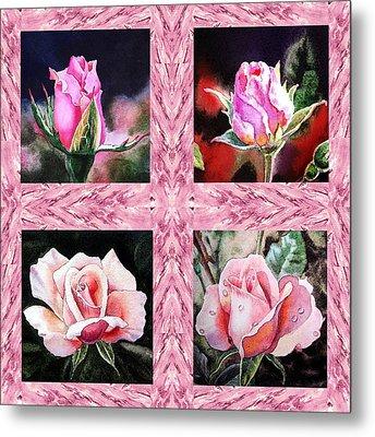 A Pink Quartet Of Single Roses Metal Print by Irina Sztukowski