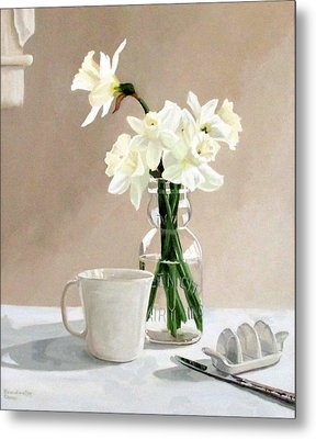A Pint Of Daffodils Metal Print by Sandra Chase