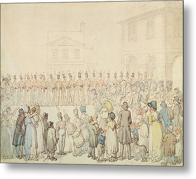 A Review Of The Northamptonshire Militia At Brackley, Northants Pen & Ink With Wc On Paper Metal Print by Thomas Rowlandson