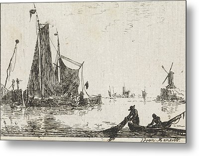 A River View With In The Foreground A Boat With Fishermen Metal Print by Quint Lox