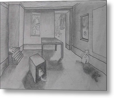 A Roomful Of Cats Metal Print by AJ Brown