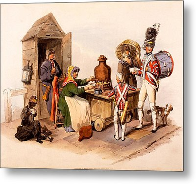 A Sallop Seller Serving Heated Hot Metal Print by William Henry Pyne