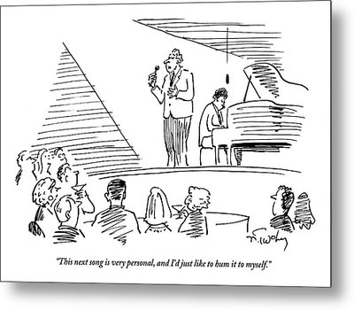 A Singer On Stage Is Addressing A Crowded Metal Print by Mike Twohy