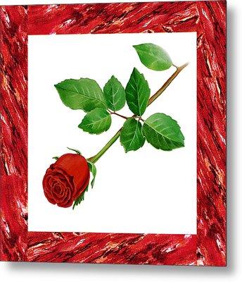 A Single Rose Burgundy Red Metal Print by Irina Sztukowski