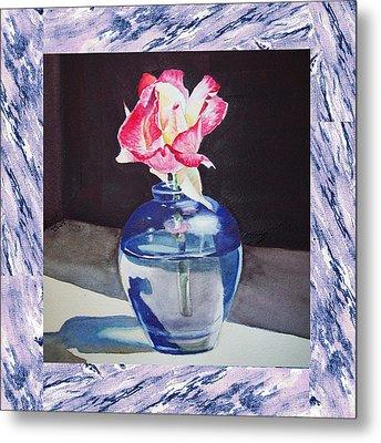 A Single Rose Mable Blue Metal Print by Irina Sztukowski