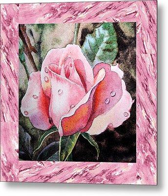A Single Rose Make Me Pink  Metal Print by Irina Sztukowski
