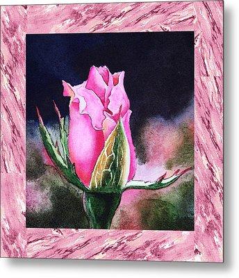 A Single Rose Pink Beginning Metal Print by Irina Sztukowski