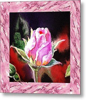 A Single Rose Pink Impressionism  Metal Print by Irina Sztukowski