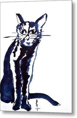 A Sketchy Cat Metal Print by Beverley Harper Tinsley