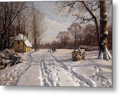 A Sleigh Ride Through A Winter Landscape Metal Print by Peder Monsted