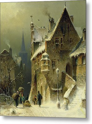 A Small Town In The Rhine Metal Print by August Schlieker