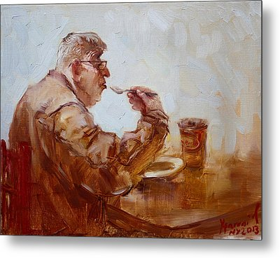 A Soupe Break At Tim Hortons Metal Print by Ylli Haruni
