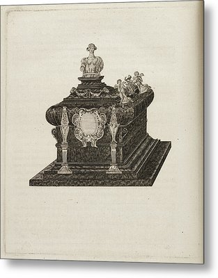A Tomb Or Casket With A Bust Or Statue Metal Print by British Library