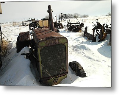 A Tractor In The Snow Metal Print by Jeff Swan