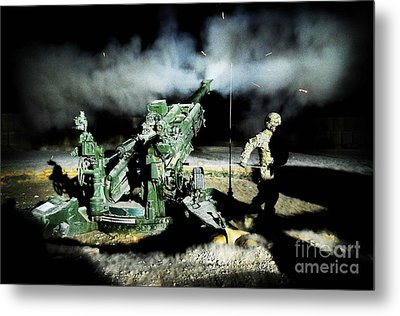 A United States Gun Crew Fire Illumination Rounds At Forward Operating Base Hadrian Metal Print by Paul Fearn