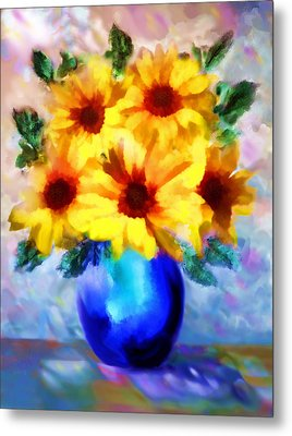 A Vase Of Sunflowers Metal Print by Valerie Anne Kelly