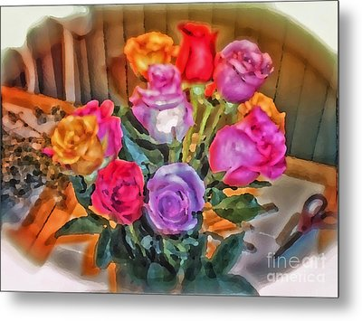 A Vivid Rose Bouquet For You Metal Print by Thomas Woolworth