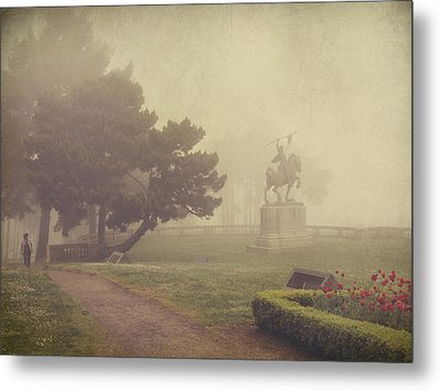 A Walk In The Fog Metal Print by Laurie Search