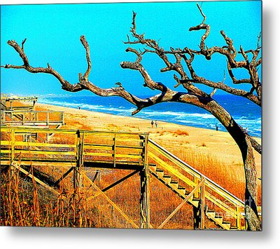 A Walk On Atlantic Beach Metal Print by Mj Carbo