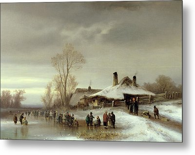 A Winter Landscape With Skaters Metal Print by Anton Doll