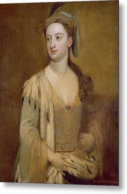 A Woman, Called Lady Mary Wortley Montagu, C.1715-20 Oil On Canvas Metal Print by Sir Godfrey Kneller