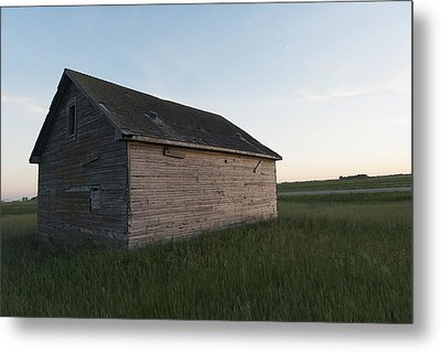 A Wooden Shed In The Middle Of A Grass Metal Print by Keith Levit