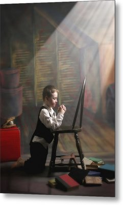A Young Boy Praying With A Light Beam Metal Print by Pete Stec