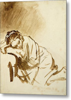 A Young Woman Sleeping Metal Print by Rembrandt Harmensz van Rijn
