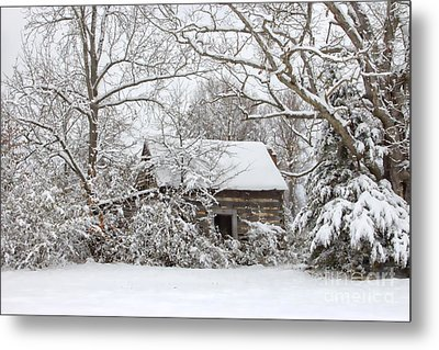Abandoned Cabin In The Woods Metal Print by Benanne Stiens