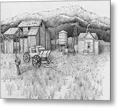 Abandoned Old Farmhouse And Barn Metal Print by Tammie Temple