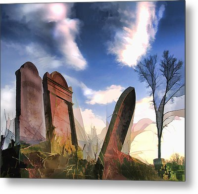 Abandoned Tombstones On The Prairie Metal Print by Elaine Plesser